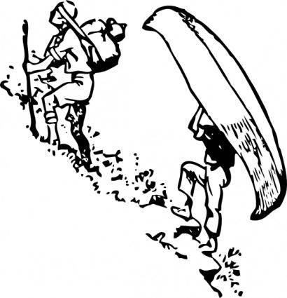 free vector Portage Canoe clip art