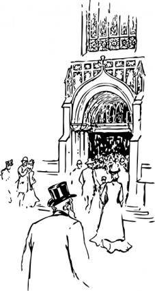 Entering Cathedral clip art