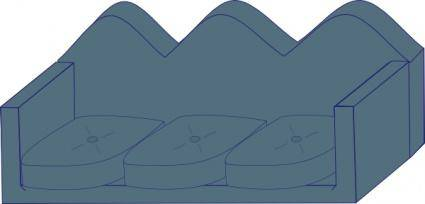 free vector Soft Blue Couch clip art