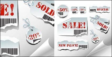 free vector Torn sales tag vector material