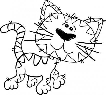 Cartoon Cat Walking Outline clip art