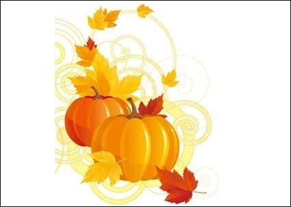 free vector Pumpkin Maple Leaf Vector