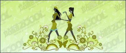 free vector Vector material girl friendship