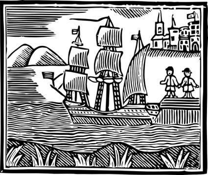 free vector Crusoe Sets Sail clip art
