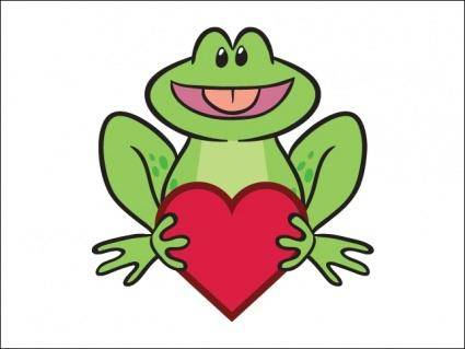 free vector Cute Frog Holding a Heart