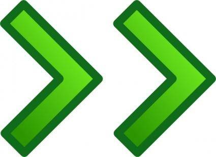 Green Right Double Arrows Set clip art