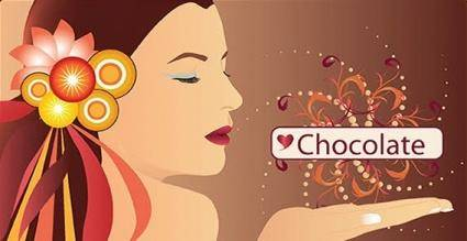 People chocolate circle face flower girl hand lips swirl