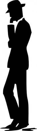 Man Walking Talking On Cell Phone Silhouette clip art