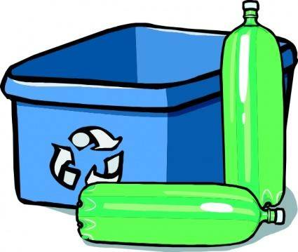 Recycling Bin And Bottles clip art