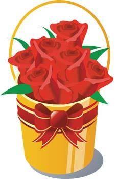 free vector Bucket of rose flower