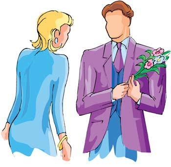 Man gift a flower to his girl friend