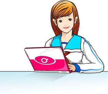 free vector School girl and laptop vector