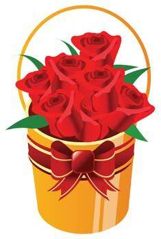 free vector Bucket of roses flower with ribbon
