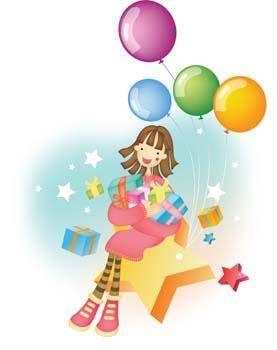 free vector Girl ballon and gift