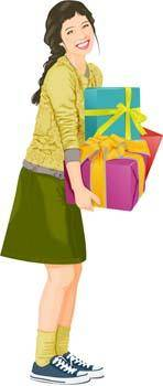 free vector Smile girl carrying her present