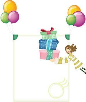 free vector Balloon gift and a little girl