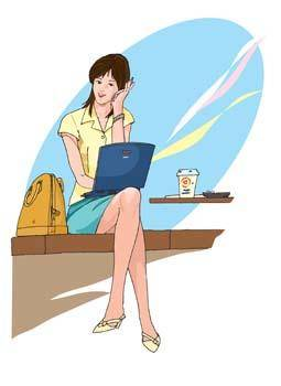 Girls and computer vector 45