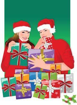 free vector Couple in love with their gift