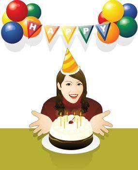 Birthday girl with cake and ballon