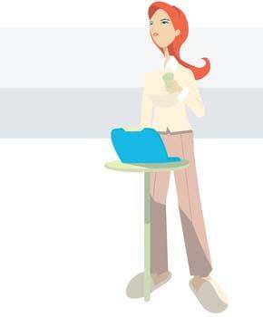 free vector Girls and computer vector 12