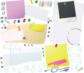 Notes papers and Thumbtack vector