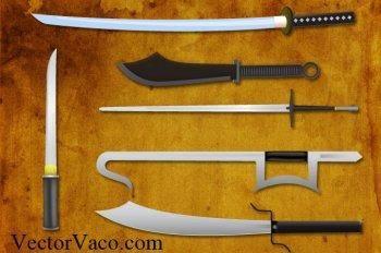 Knives and swords vectors, japanese sword vector, samurai vector ai, kungfu sword ai, kill bill samurai vector