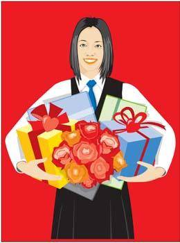 free vector School girl with her gift