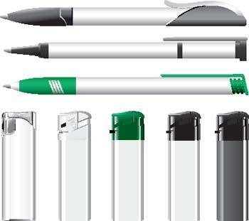 Lighters and pens vector