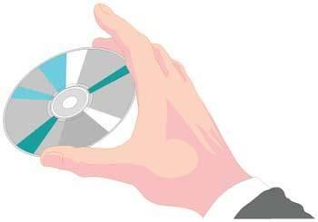 Hand holding cdrom vector