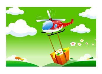 free vector Helicopter with Present