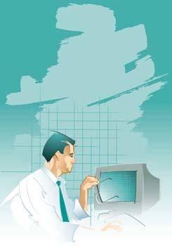 free vector Businessman staring at monitor
