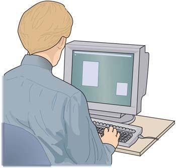 Men and computer vector 1