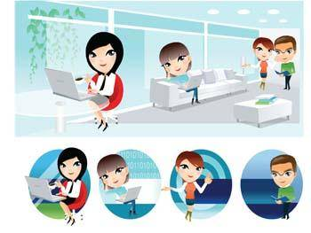 free vector People and computer vector 2