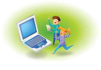 free vector Kids and laptop vector