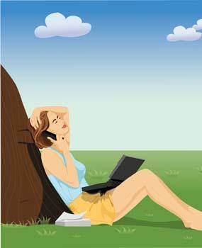 free vector Girl sitting with her laptop and phone