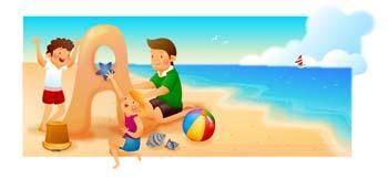 free vector Childs Playing Sand on the sea
