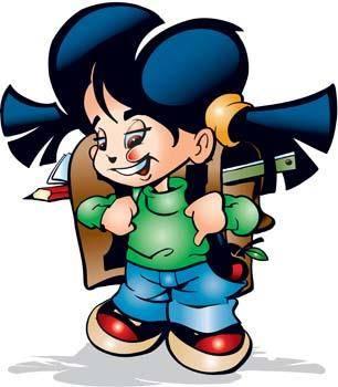 free vector School girls vector 1