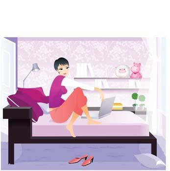 free vector Girl in her bedroom with laptop