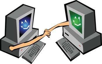 Handsake dekstop computer vector