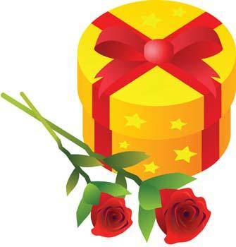 free vector Stalk of rose and gift box