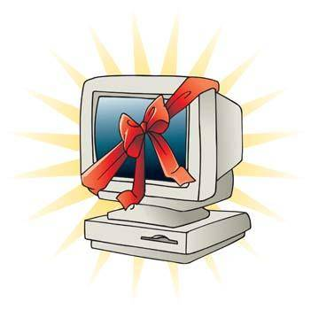 Classic dekstop computer vector with ribbon