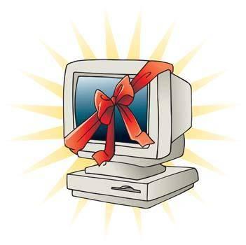 Classic dekstop computer vector with ribbon