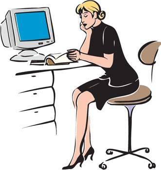 Receptionist and dekstop pc