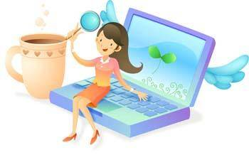 Girls and computer vector 50