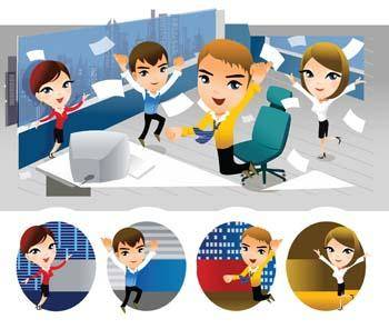 free vector People and computer vector 1
