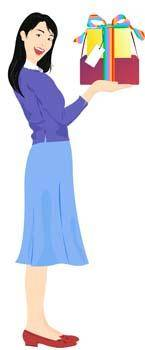 free vector Girl in blue dress with her gift