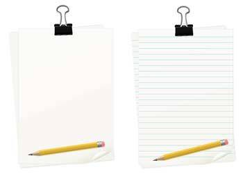 free vector Clipped paper with pencil set
