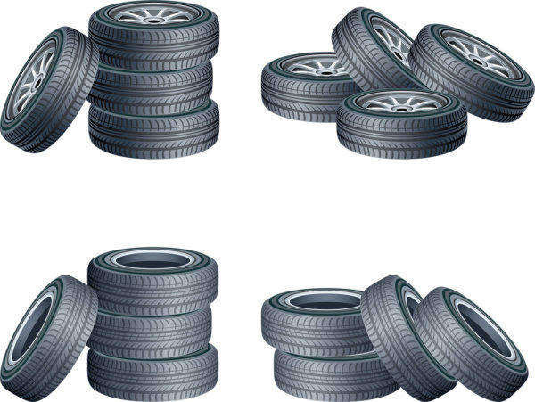 Tires Vector Material -2 Wheels Trucks Spare Tire