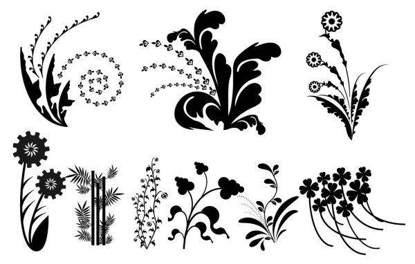 Vector Silhouette Black And White Leaves Vector