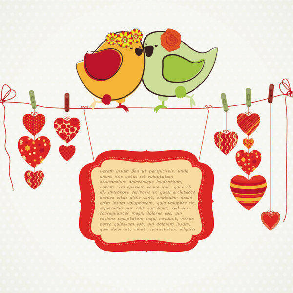 free vector Hand-drawn Illustrations Love Birds 04-- Vector Material Hand-drawn Illustration Love Birds